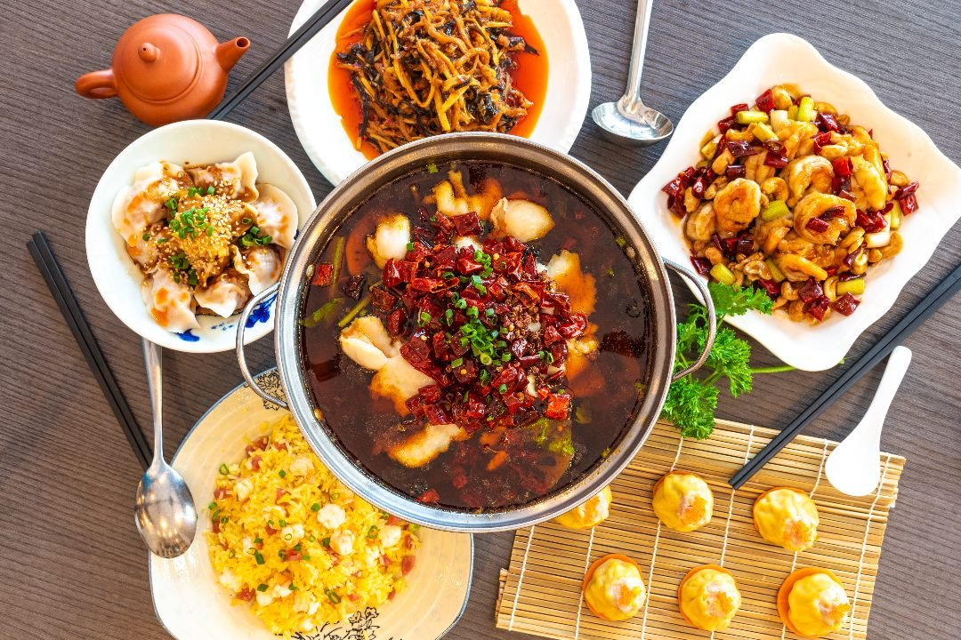 Table of Sichuan dishes